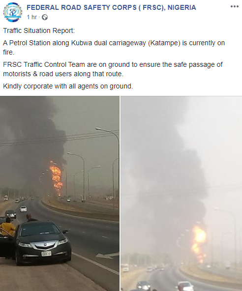 Petrol station gutted by fire in Abuja (photos/video)