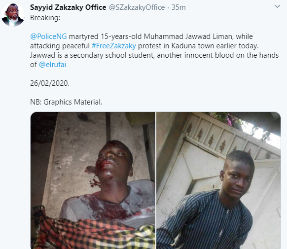 15-year-old Shiite member allegedly shot dead during free El-Zakzaky protest in Kaduna (graphic photo)