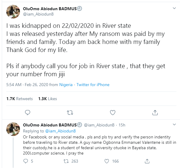 Jobseeker narrates how he was lured to Rivers State with a job offer and kidnapped