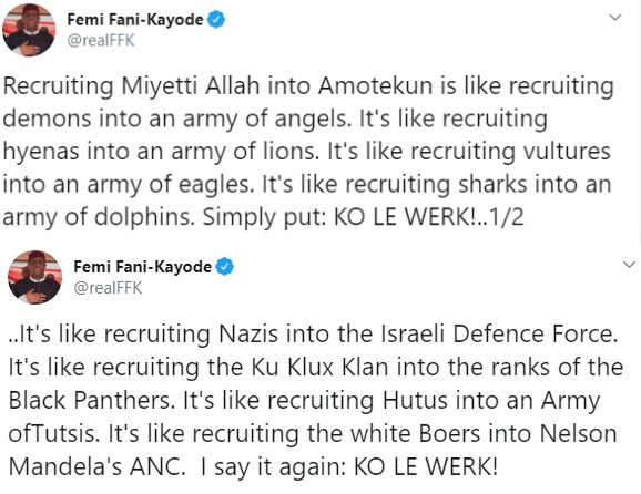 Recruiting Miyetti Allah into Amotekun is like recruiting demons into an army of angels- FFK