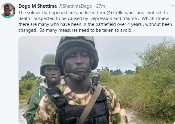 See photo of soldier who killed four of his colleagues before committing suicide in Borno