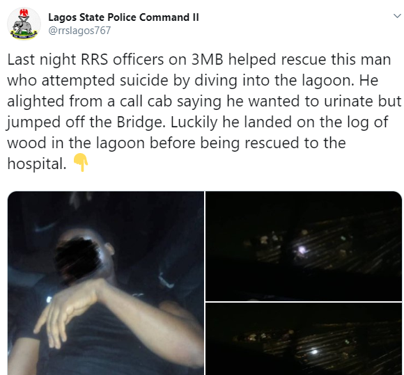 Another young man comes down from a cab, jumps off third mainland bridge into Lagos Lagoon (photos)