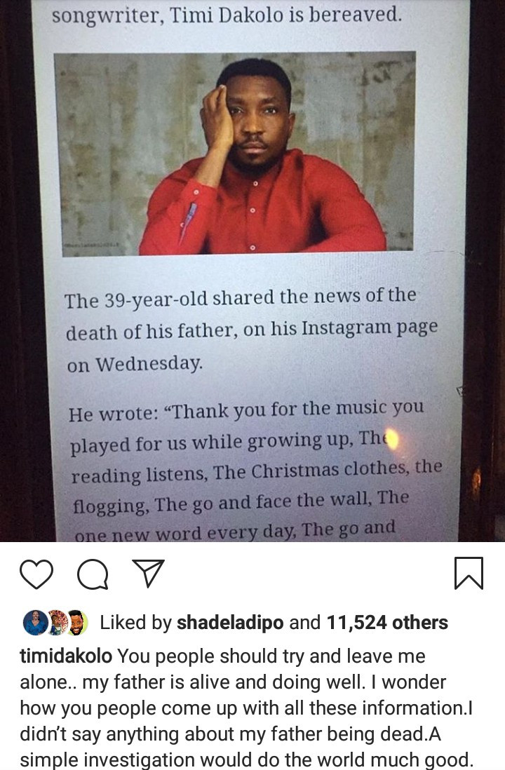 Timi Dakolo reacts to news that he lost his father