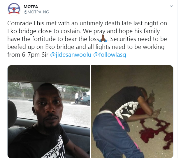 Cab driver killed on Lagos bridge by hoodlums (graphic photos)