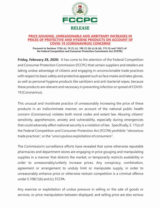 Coronavirus: Increase prices of face mask, sanitizer go to jail ? FG