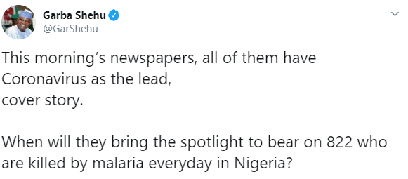 """Nigerians react after Garba Shehu questioned why the Nigerian media are more focused on Coronavirus than on malaria that kills """"822 everyday in Nigeria"""""""