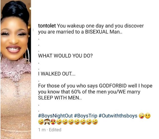 What would you do if you found out you were married to a bisexual man? I walked out - Tonto Dikeh writes on IG