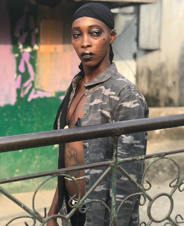 Model with prominent tribal marks, Adetutu OJ goes braless in new modelling photos