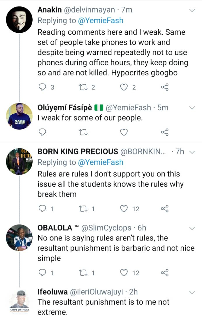 Nigerians react to video of a teacher asking a student of Federal Girls College Akure to destroy her phone and those of her schoolmates