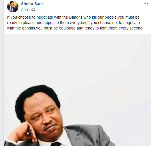 Be ready to fight every second if you refuse to negotiate with bandits ? Shehu Sani tells El-Rufai