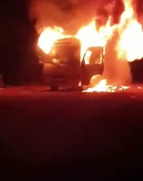 Lobi Stars FC players injured as their bus goes up in flame (photos/video)