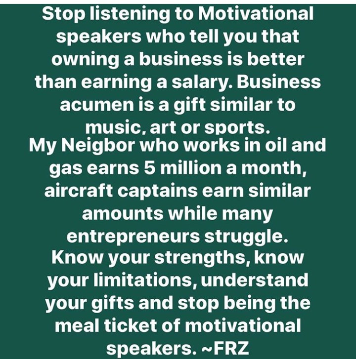 """Stop listening to motivational speakers who tell you owning a business is better than earning salary"" Freeze warns"