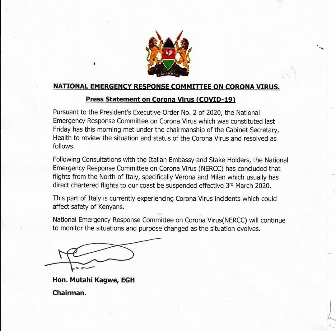 Coronavirus: Kenya suspends flights from northern Italy