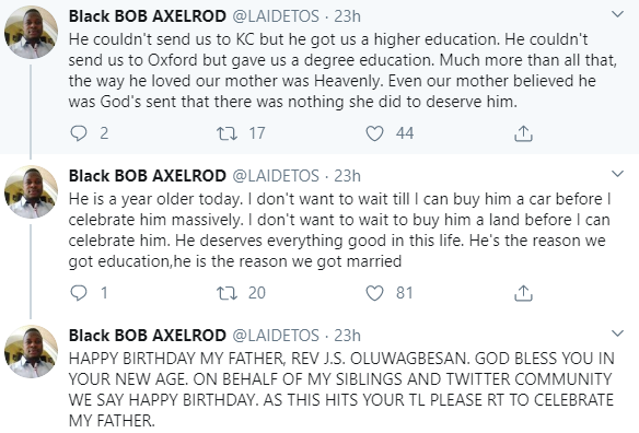 Twitter user recounts how his stepfather came into his family after his father
