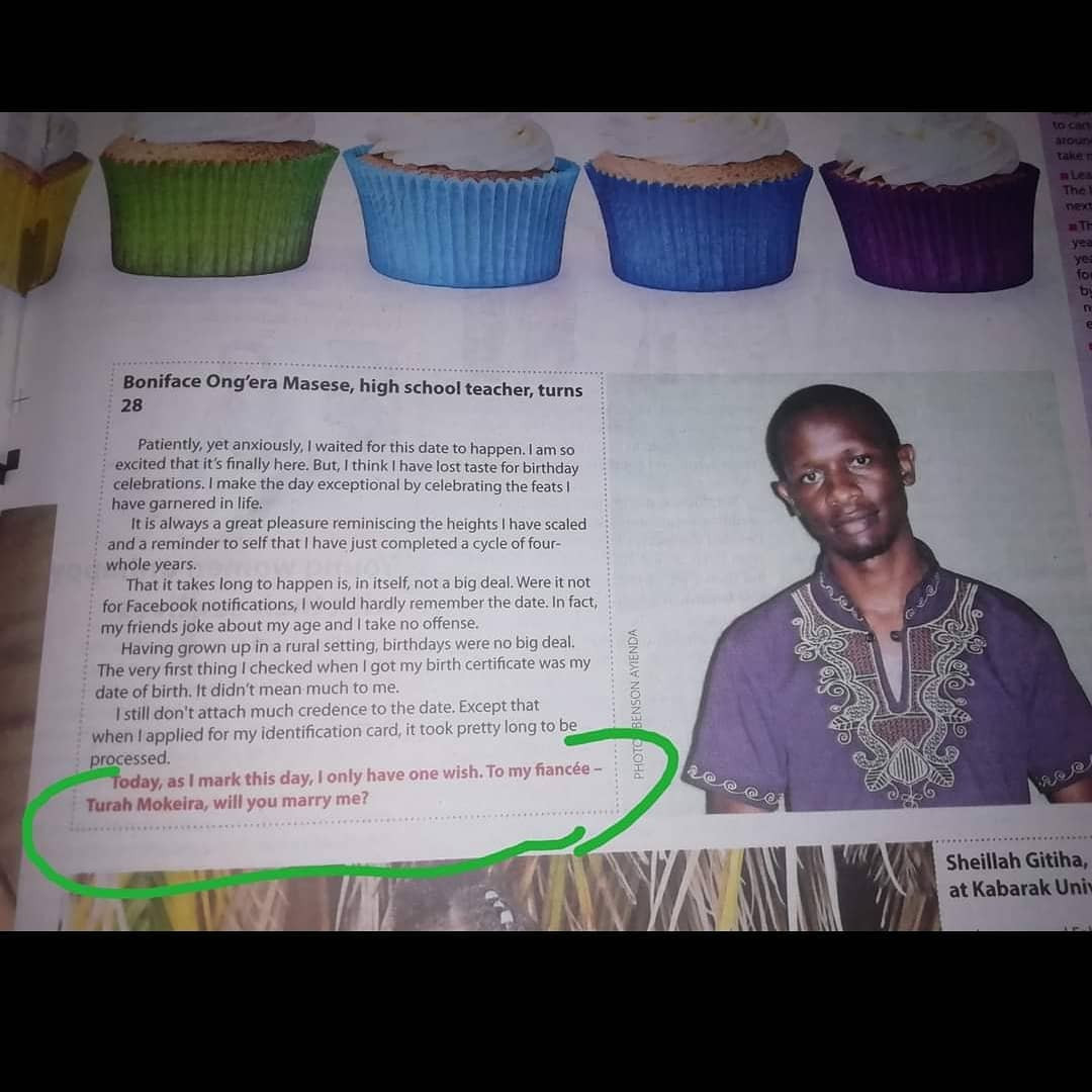 Kenyan high school teacher proposes to girlfriend through newspaper article on his birthday