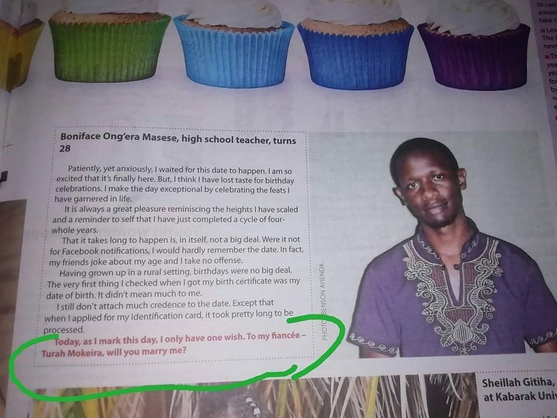 Kenyan high school teacher proposes to girlfriend through newspaper article on his birthday