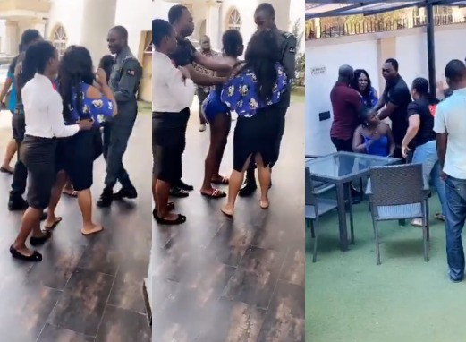Angry Wife Confronts Her Hubby And His Side Chic At A Hotel In