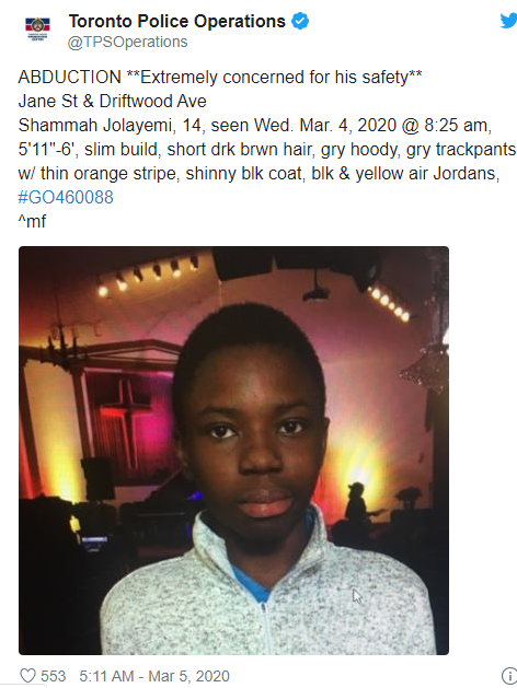 Photo: 14 year old Nigerian boy, Shammah Jolayemi, abducted in Toronto, Canada