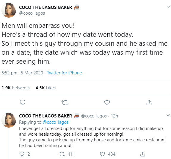 Woman narrates her disastrous date with a man who insisted she pays for their meal then caused a scene