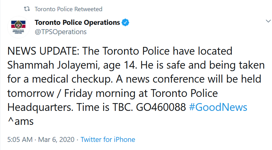 Update: Nigerian teen kidnapped on his way to school in Toronto has been found; police say he was abducted as retribution for his stepbrother