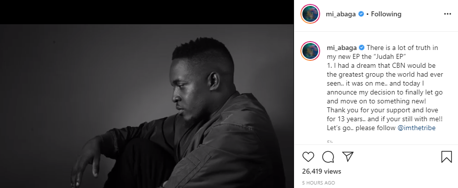 Rapper, MI Abaga leaves Chocolate City after 13 years