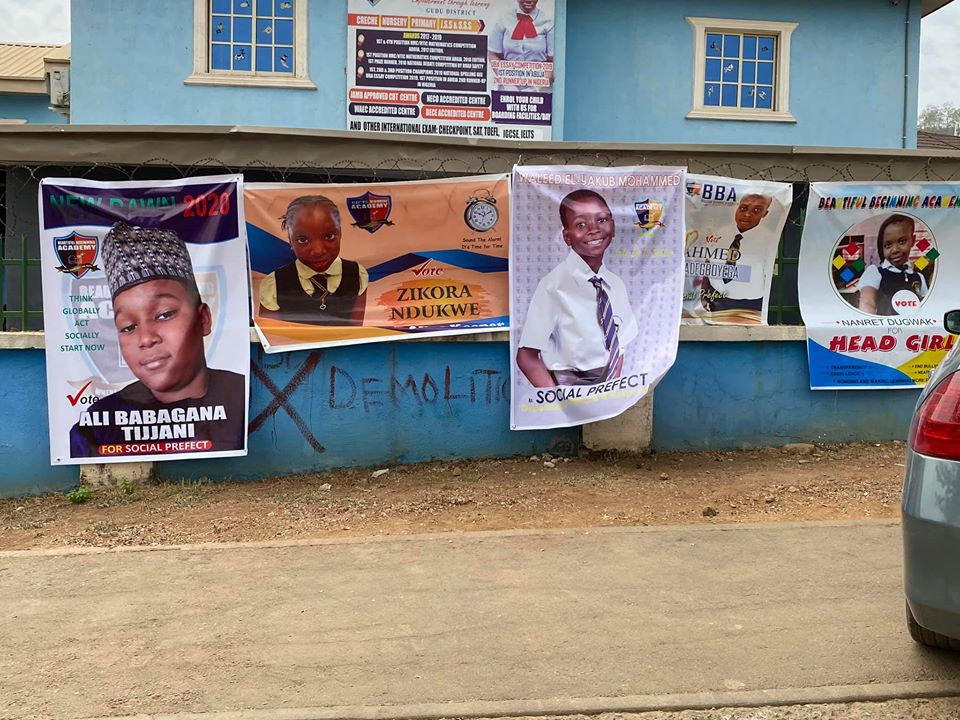Abuja primary school pupils go viral with their SUG election campaign (photos)
