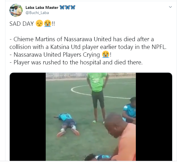 Nasarawa United player, Chieme Martins slumps and dies after colliding with another player during football match  (photos/video)