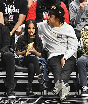 Rapper Jay-Z and daughter Blue Ivy Carter watch basketball game together in Los Angeles (photos)