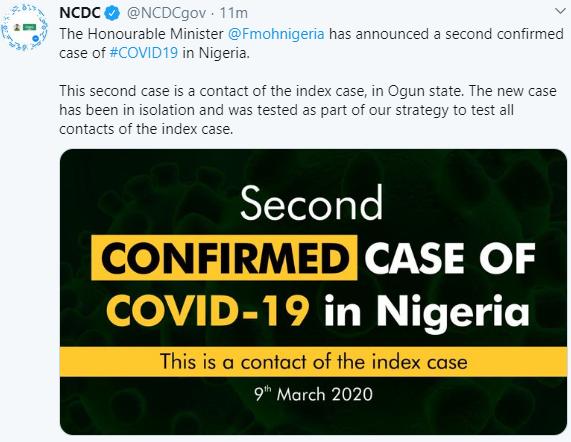 Breaking: Second case of Coronavirus confirmed in Ogun state
