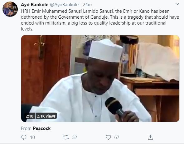 Nigerians react as Kano state governor Ganduje dethrones Emir Sanusi
