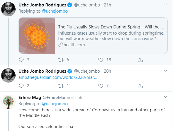 Uche Jombo receives heat on Twitter after stating that Coronavirus cannot survive in hot weather