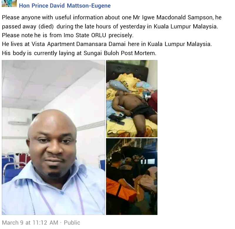 Nigerian man found dead in his apartment in Malaysia (photos)