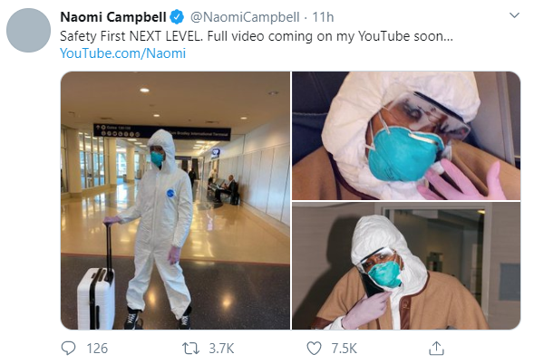 Supermodel Naomi Campbell turns up for flight in full hazmat suit, goggles, face mask and rubber gloves