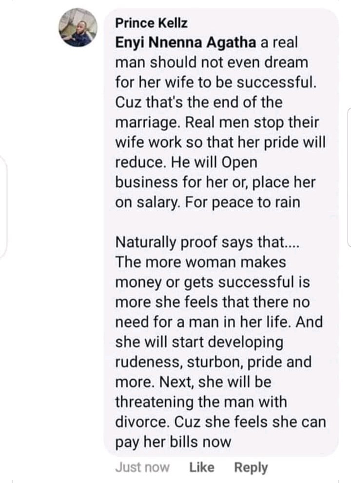 """A real man should not allow his wife to be successful"" - Nigerian man says"