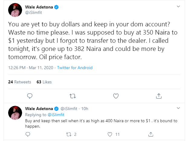 Nigerians react to dollar scarcity as Naira trades at N375 to a dollar