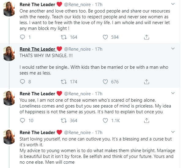 I left my marriage because submission was an issue for me - Nigerian Feminist Rene writes