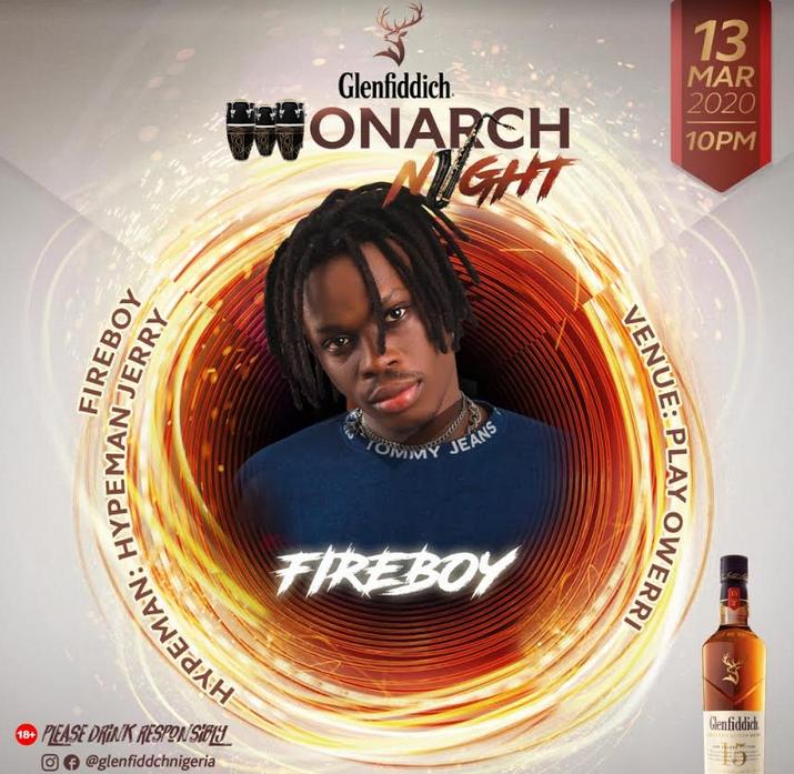 """Glenfiddich """"Monarch Night"""" at Play Royal Owerri With Fireboy DML"""