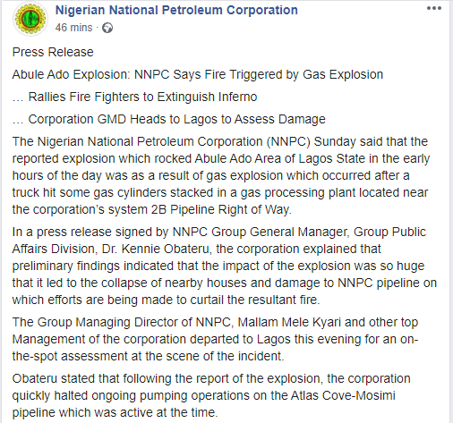 Gas cylinders hit by a truck caused explosion in Abule Ado - NNPC