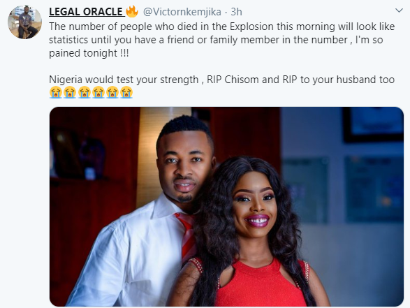 Lawyer mourns couple who reportedly died in Abule Ado explosion