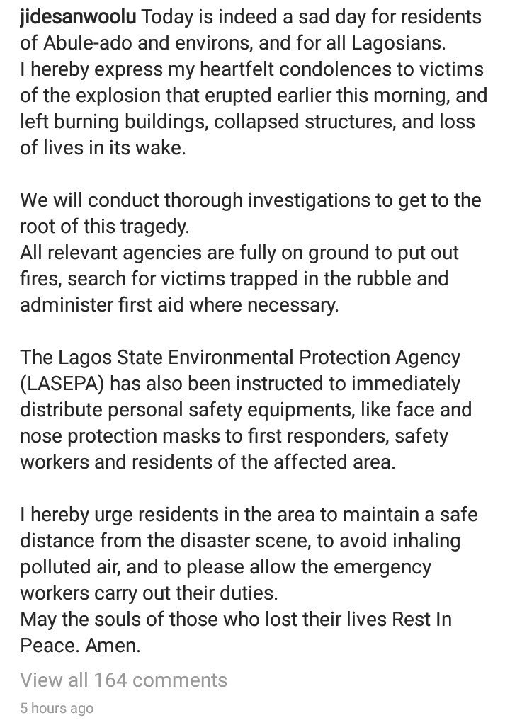 """""""We will conduct thorough investigations"""" Lagos State governor Babajide Sanwo-Olu says as he sympathizes with the victims of Abule Ado explosion"""