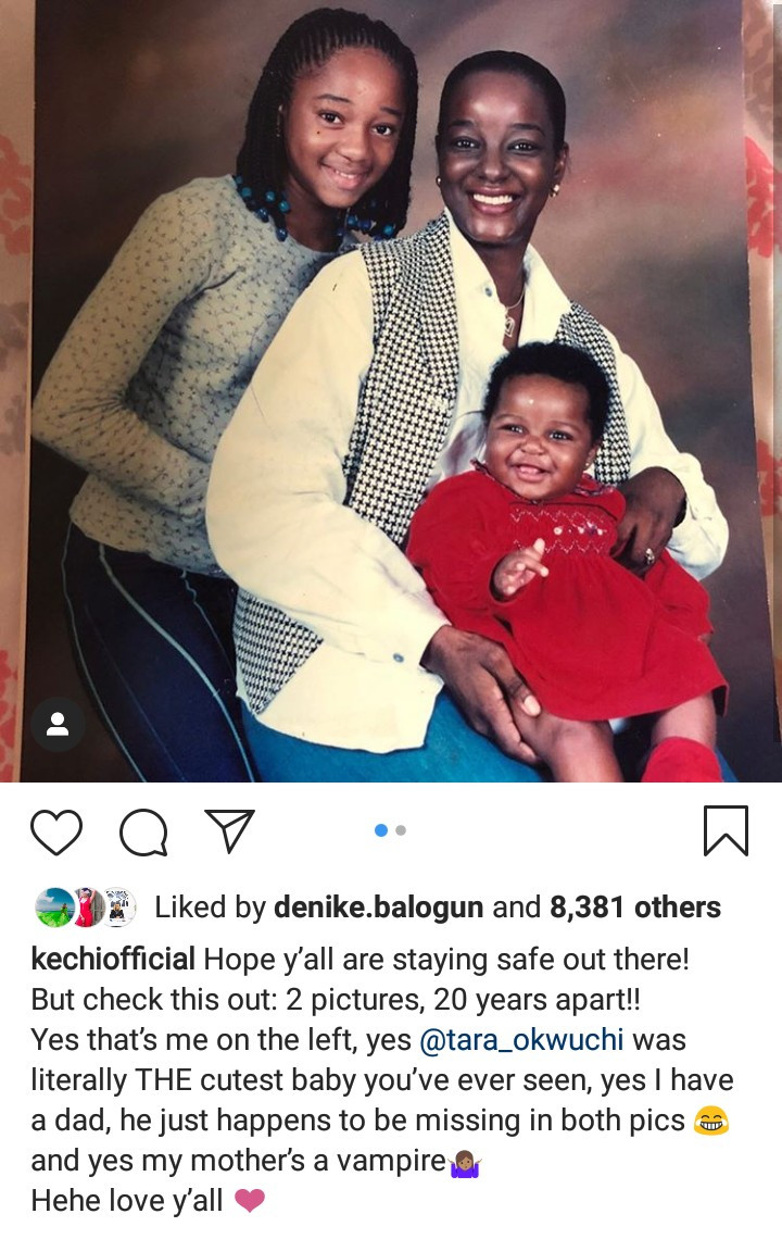 Kechi Okwuchi shares photos of herself with her mum and sister taken 20 years apart