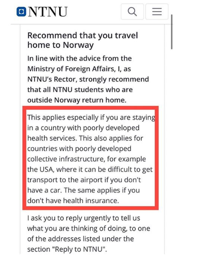 Coronavirus: Norwegian university shades US Healthcare System in message to students who live abroad