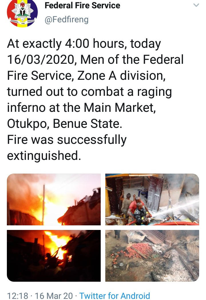 Fire guts Otukpo Main Market in Benue (photos/videos)