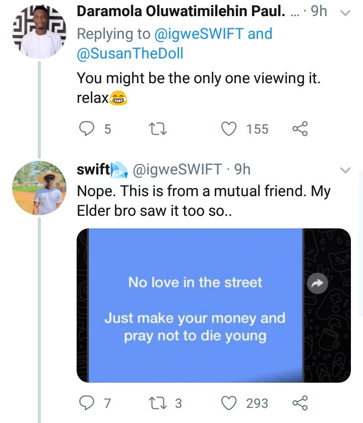 These WhatsApp updates shared by a boy after his elder brother refused to give him money has amused Twitter users