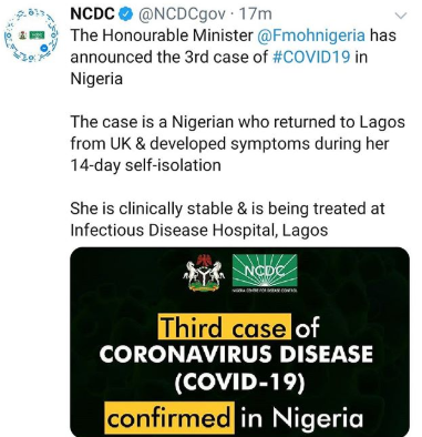 Breaking: FG confirms 3rd case of Coronavirus in Nigeria
