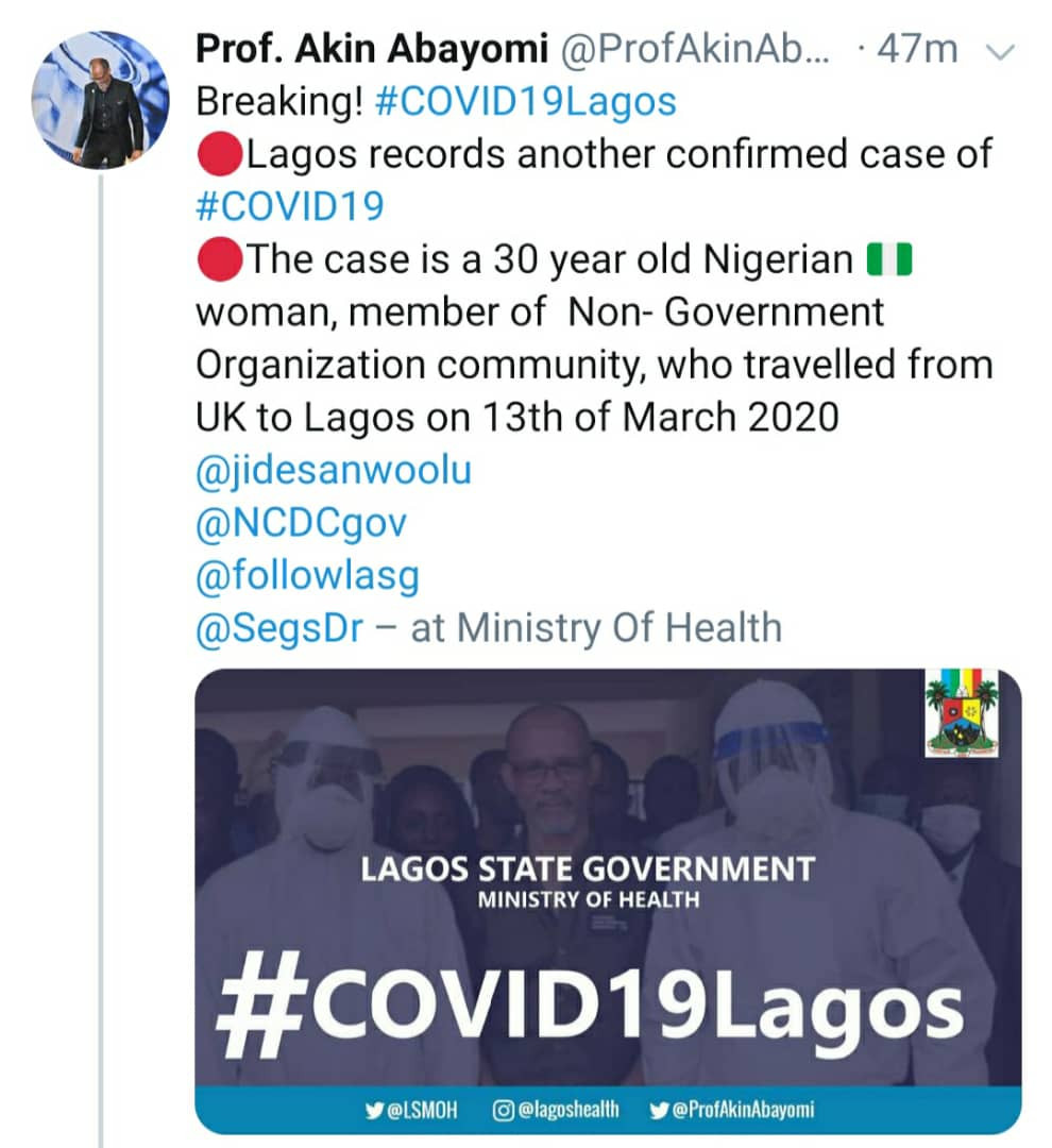 Isolate yourself for 14 days if you were a passenger on flight BA 75 that arrived Lagos on March 13 - Lagos Health Commissioner, Prof Abayomi