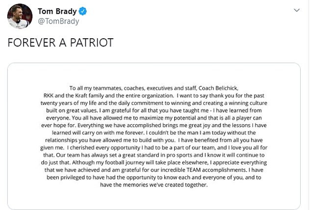 Tom Brady announces he is leaving New England Patriots after 12-years