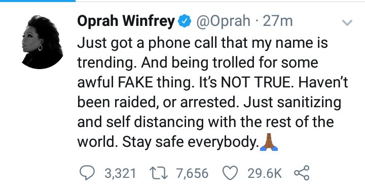 Oprah Winfrey reacts to reports that she was arrested on sex trafficking and child porn charges