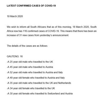 South Africa now has 116 confirmed cases of coronavirus