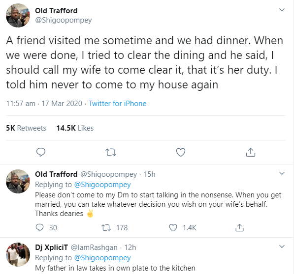 Man reveals he stopped his friend from coming to his house after the comment he made when he saw him clearing the dishes